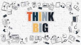 Multicolorido pense grande em Brickwall branco Doodle o estilo Imagem de Stock Royalty Free
