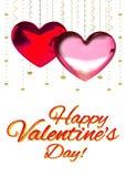 Multicolorido vermelho do rosa da decoração dos corações do amor Relacionamento feliz romântico da alegria Conceito do cartão do  Imagem de Stock Royalty Free