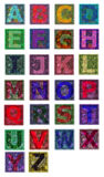 Multicolors of the Alphabet. Multicolor tiles with alphabet letters in different colors Royalty Free Stock Image