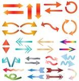 Multicolors-Pfeilikone auf weißem Hintergrund Lizenzfreies Stockfoto