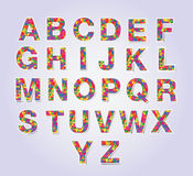 Multicolors polygon font Royalty Free Stock Images