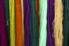 Multicolors thread silks dye. Multicolorsl thread silks dye from natural color material for woven silk handicraft Stock Image