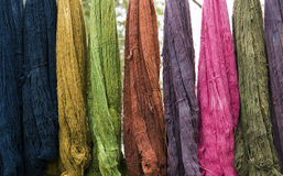 Multicolors thread silks dye. Multicolorsl thread silks dye from natural color material for woven silk handicraft Royalty Free Stock Photo