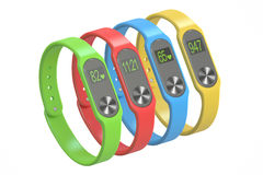 Multicolour activity trackers or fitness bracelets, 3D rendering Stock Photography