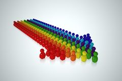 Multicolour arrow formed by 3d stylized human. A big multicolor arrow formed by human on white background Stock Image