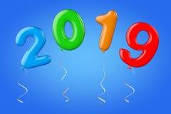 Multicolour ballonger som tecken för nytt år 2019 framförande 3d vektor illustrationer