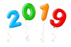 Multicolour ballonger som tecken för nytt år 2019 framförande 3d royaltyfri illustrationer