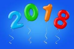 Multicolour ballonger som tecken för nytt år 2018 framförande 3d royaltyfri illustrationer