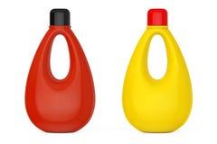Multicolour Blank Plastic Bottles for Bleach, Liquid Laundry Det. Ergent or Fabric Softener on a white background. 3d Rendering Stock Photography