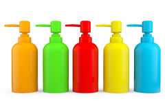 Multicolour bottles for liquid soap with dispenser pump Royalty Free Stock Images