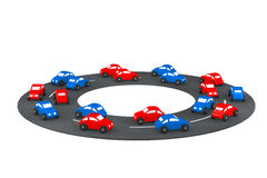 Multicolour Cartoon Toy Cars on the road. 3d Rendering Stock Photography