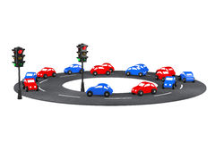 Multicolour Cartoon Toy Cars on the road. 3d Rendering Stock Photo