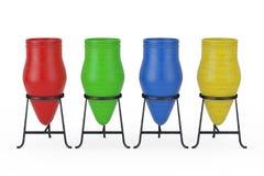 Multicolour Clay Trash Bin Pots framförande 3d royaltyfri illustrationer