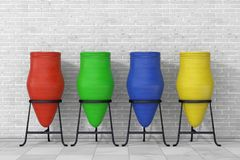 Multicolour Clay Trash Bin Pots framf?rande 3d royaltyfri illustrationer