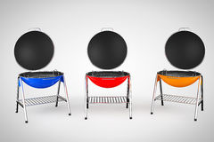 Multicolour Closeup Barbecue Grills. On a white background Stock Image
