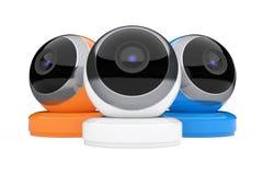 Multicolour Computer Spherical Web Cameras. 3d Rendering Stock Image