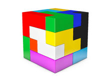 Multicolour cube brain teaser game Royalty Free Stock Images