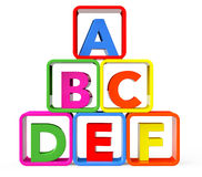 Multicolour cubes as stand with ABC letters Stock Images