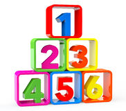 Multicolour cubes as stand with 123 Numbers. On a white background Stock Image