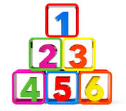 Multicolour cubes as stand with 123 Numbers. On a white background Royalty Free Stock Photos