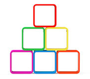 Multicolour cubes as stand. On a white background Stock Images