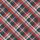 Multicolour diagonal seamless pattern. Diagonal position of rectangular seamless vector pattern as a tartan plaid in red, green, beige and brown colors Stock Photography