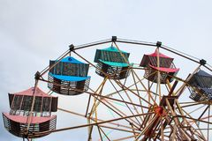 Multicolour ferris wheel in Chiang Mai ,Thailnd.  royalty free stock photography