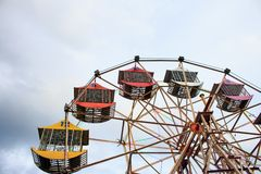 Multicolour ferris wheel in Chiang Mai ,Thailnd.  stock photos