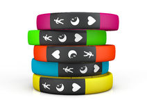Multicolour Fitness Trackers Royalty Free Stock Images