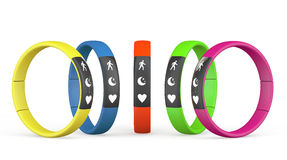 Multicolour Fitness Trackers Stock Photo