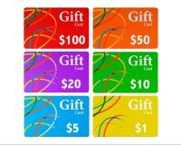 Multicolour Gift Cards Set Stock Photos