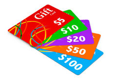 Multicolour Gift Cards Royalty Free Stock Photos