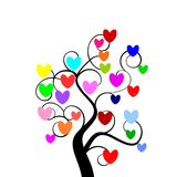 Multicolour hearts tree Stock Photos