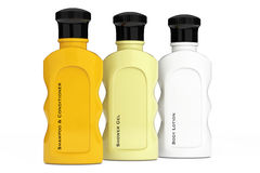 Multicolour Hotel Cosmetic Bottles. 3d Rendering Royalty Free Stock Images