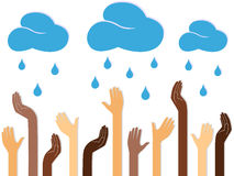 Multicolour Human Hands and Raining Clouds. Multicolour human hands outstretched to the sky with raining clouds, conceptual ecologic vector illustration Royalty Free Stock Photo