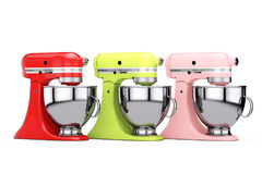 Multicolour Kitchen Stand Food Mixers. 3d Rendering Royalty Free Stock Image