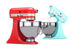 Multicolour Kitchen Stand Food Mixers. 3d Rendering. Multicolour Kitchen Stand Food Mixers on a white background. 3d Rendering Stock Photo