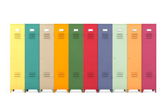 Multicolour Metal Lockers Stock Photo