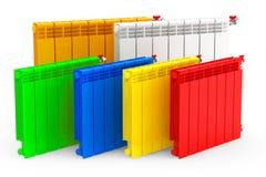 Multicolour Modern Heating Radiators Royalty Free Stock Image
