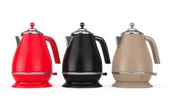 Multicolour Modern Teapot or Electric Kettle. 3d Rendering. Multicolour Modern Teapot or Electric Kettle on a white background. 3d Rendering Stock Photo