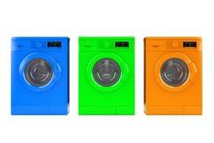 Multicolour Modern Washing Machines. 3d Rendering Stock Photos
