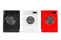 Multicolour Modern Washing Machines. 3d Rendering Royalty Free Stock Photo