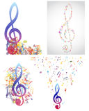 Multicolour  musical. Notes staff background.  Vector illustration Stock Photography