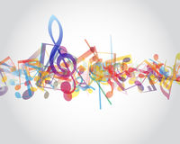 Multicolour  musical notes. Staff background. Vector illustration Stock Photography