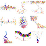 Multicolour  musical notes staff set Stock Photo