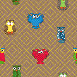 Multicolour owl seamless pattern. Over seamless background, hand drawing cartoon vector illustration Royalty Free Stock Images