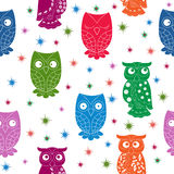Multicolour owl and stars seamless pattern Royalty Free Stock Image