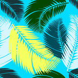 Multicolour palm leaves seamless pattern Stock Image