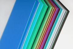 Multicolour paper. Closeup of the multicolour paper stock photo