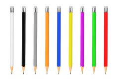 Multicolour Pencils Mockup with Blank Space for Yours Design. 3d Royalty Free Stock Image